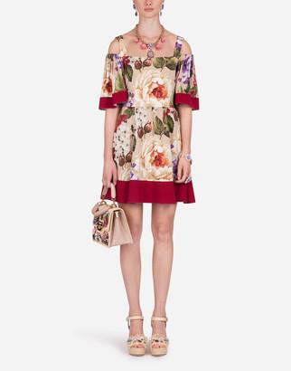 Dolce & Gabbana Short Floral-Print Charmeuse Dress