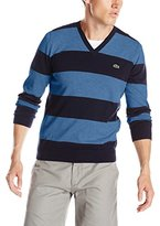 Lacoste Men's Long Sleeve Striped Cotton Jersey V Neck Sweater