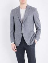 Canali Herringbone woven regular-fit wool jacket