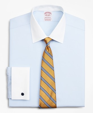 Brooks Brothers Stretch Madison Classic-Fit Dress Shirt, Non-Iron Pinpoint Contrast Ainsley Collar French Cuff