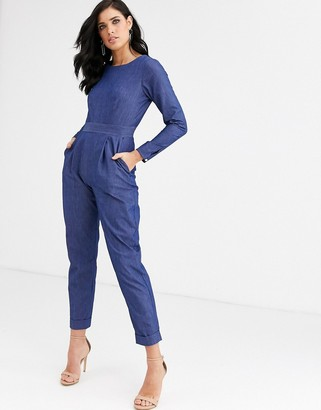 Closet London Closet denim long sleeve jumpsuit