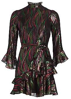 Saloni Women's Marissa Metallic Print Mini Dress
