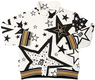 Dolce & Gabbana Star Print Zip-up Cotton Sweatshirt