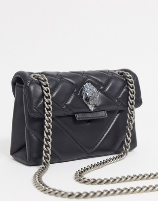 Kurt Geiger Kensington mini cross body bag with gunmetal hardware in black leather