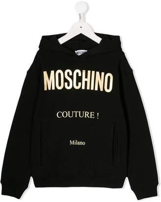 Moschino Kids gold logo print hoodie