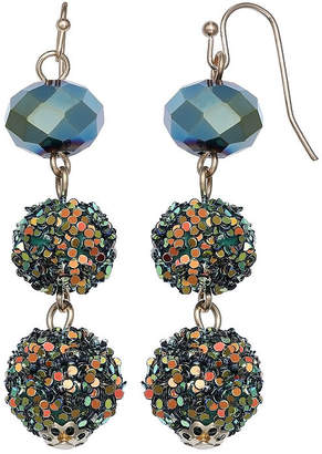 MIXIT Mixit Glitter Ball Green Drop Earrings