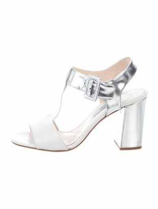 Prada Leather T-Strap Sandals Silver