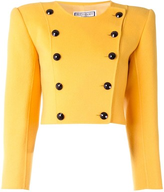 Yves Saint Laurent Pre Owned Collarless Double-Breasted Cropped Jacket