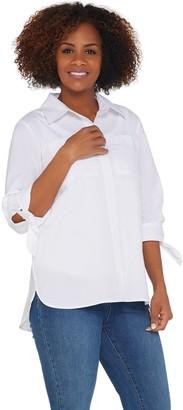 Martha Stewart Stretch Poplin Blouse with 3/4 Tie Sleeves