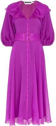 ROTATE ruffled button-up midi dress