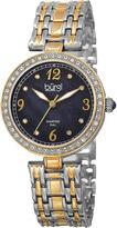 Burgi Womens Black Dial Two-Tone Bracelet Watch