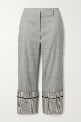 Monse Cropped Checked Wool-blend Straight-leg Pants - Gray