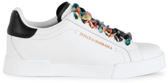Dolce & Gabbana Portofino Floral Scarf Leather Sneakers