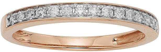 JCPenney MODERN BRIDE 1/4 CT. T.W. Certified Diamond Single-Row Rose Gold Wedding Band
