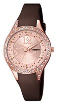 Calypso Women's Quartz Watch with Rose Gold Dial Analogue Display and Brown Plastic Strap K5660/3
