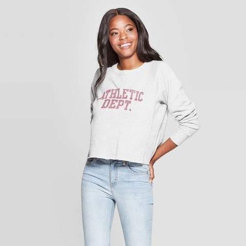 Grayson Threads Women's Athletic Dept Long Sleeve Cropped Graphic Sweatshirt (Juniors') - Gray