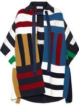 Sonia Rykiel Striped Ribbed Stretch-knit Poncho - Blue