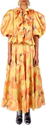 Ulla Johnson Women's Nadya Short Sleeve Silk Ruffle Top - Yellow/pink - Moda Operandi