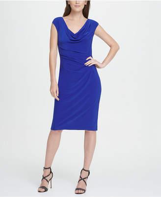 DKNY Sleeveless Cowl Neck Pleated Sheath Dress