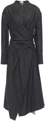 Brunello Cucinelli Wrap-effect Denim Midi Dress