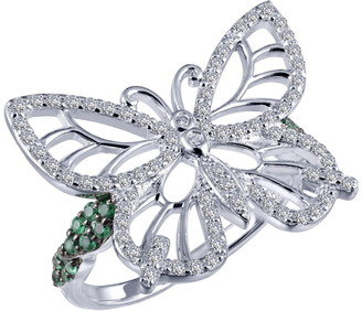 Lafonn Simulated Diamond Micro Pave White & Green Butterfly Ring