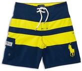 Ralph Lauren Boys' Big Pony Wide Stripe Board Shorts - Little Kid, Big Kid