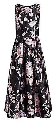 Theia Women's Sleeveless Embellished Floral Tea-Length Dress