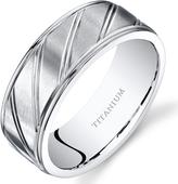 Ice Men's Diagonally Grooved White Titanium Ring Band