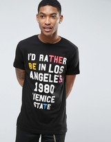 Pull&Bear T-Shirt With LA Print In Black