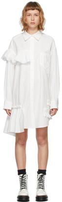 Sjyp White Asymmetric Frill Shirt Dress