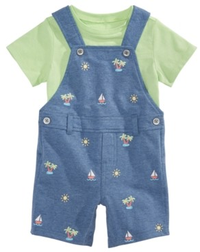 First Impressions Baby Boys 2-Pc. T-Shirt & Printed Shortalls Set, Created for Macy's
