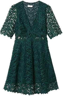 Sandro Hearty Lace Fit & Flare Dress