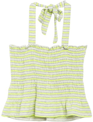 Poof Striped Smocked Halter Peplum Top