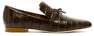 Malone Souliers X Roksanda Celia Crocodile-effect Leather Loafers - Khaki