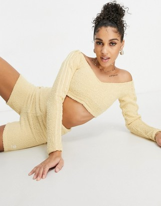 adidas Relaxed Risque fluffy knit ruched cropped long sleeve top in beige
