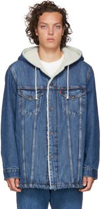 Levi's Levis Blue Denim Sherpa Hooded Long Trucker Jacket
