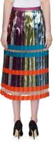 Mary Katrantzou Nighthawk Pleated Metallic Colorblock Midi Skirt