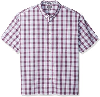 Van Heusen Men's Never Tuck Slim Fit Short Sleeve Button Down Shirt