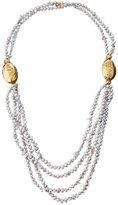 Devon Leigh Layered Freshwater Pearl, Amethyst & Bronze Beaded Rope Necklace