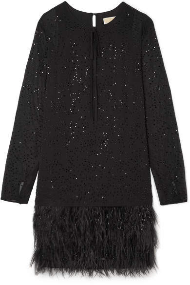 MICHAEL Michael Kors Crystal And Feather-embellished Chiffon Mini Dress