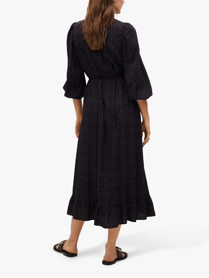 Thumbnail for your product : MANGO Flowy Spotted Midi Dress, Black/White