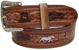 Modestone Unisex Embossed Cowboy Theme Leather Belt 1.5'' Width 42