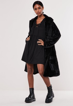 Missguided Black Lace Up Front Smock Dress