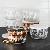 Crate & Barrel Lidded Bowl with Snowflakes Set of Six