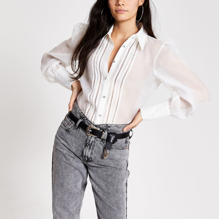 River Island Womens White embroidered long sleeve sheer shirt