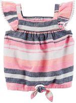 Carter's Baby Girl Striped Linen-Blend Top