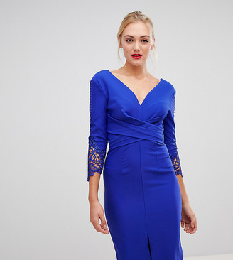 Little Mistress Tall wrap front pencil dress with lace sleeve detail in cobalt