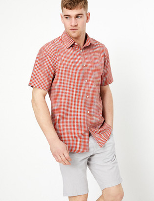 Marks and Spencer Cotton Space Dye Checked Shirt