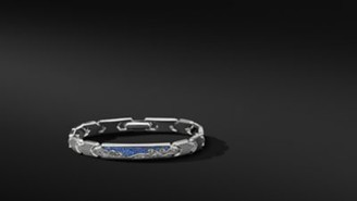 David Yurman Waves Id Link Bracelet With Pave Sapphires