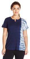 Calvin Klein Women's Plus Size Tie Dye Notch Neck Tee